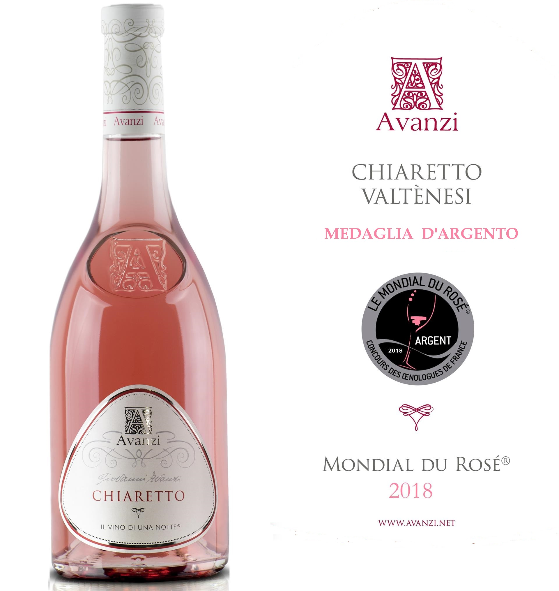 Chiaretto Avanzi awarded at Le Mondial du Rosé 2018
